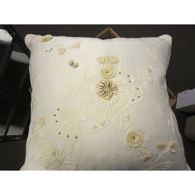 White & Tan Decorative Pillows - Set of 5 - Image 3 of 7