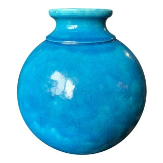 "Large Turquoise ""Egyptian Blue"" Spherical French Pottery Vase by Edmond Lachenal For Sale"