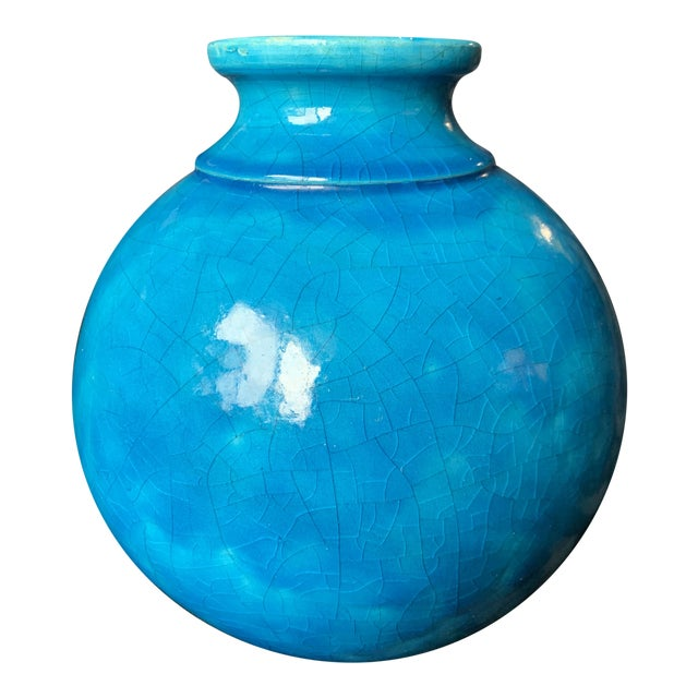 """Large Turquoise """"Egyptian Blue"""" Spherical French Pottery Vase by Edmond Lachenal For Sale"""