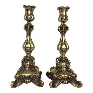 Art Nouveau Bronze Candle Sticks - a Pair