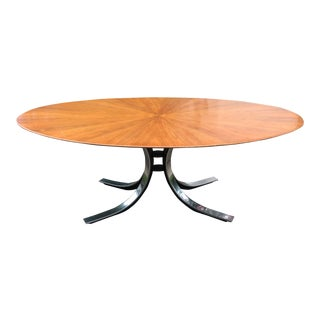 Osvaldo Borsani Starburst Wood Top Oval Dining Table For Sale