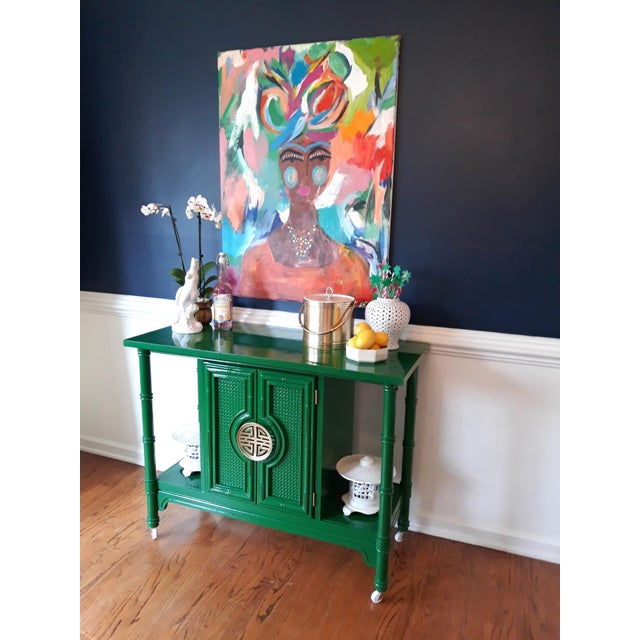 1970s Hollywood Regency Lacquered Green Faux Bamboo Bar Cart For Sale - Image 5 of 13
