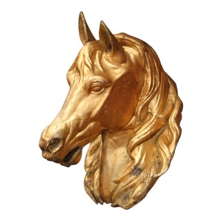 19th Century French Life Size Tole Horse Head Sculpture With Original Gilt For Sale