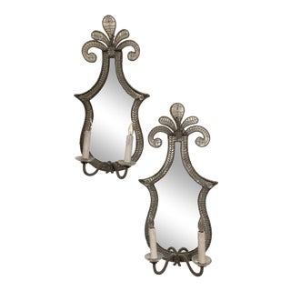 Antique Neoclassical Mirrored Sconces - A Pair