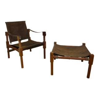 Contemporary Safari Distressed Buffalo Leather Chair & Ottoman For Sale