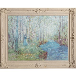"""Geoffrey Squire, """"Figures by a Stream"""", Impressionist Landscape Painting For Sale"""