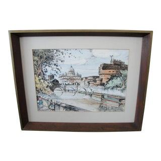 Mid-Century European Watercolor Painting For Sale