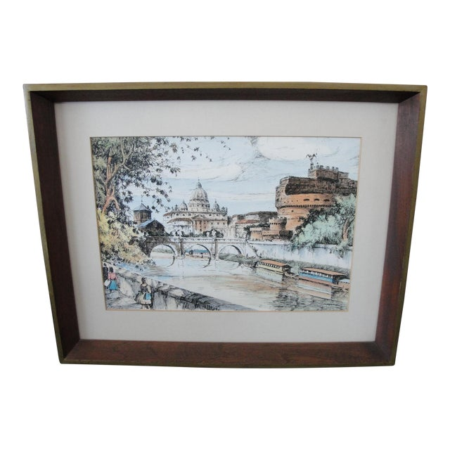 Mid-Century European Watercolor Painting - Image 1 of 7