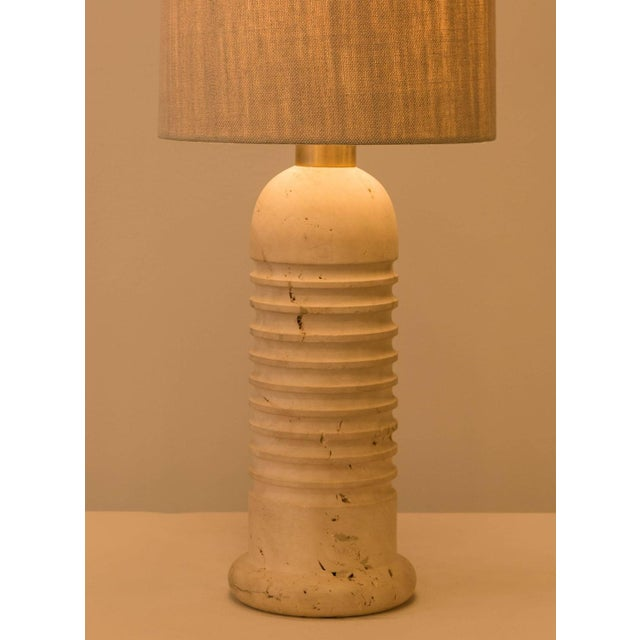 Carved Travertine Table Lamps - A Pair - Image 4 of 4