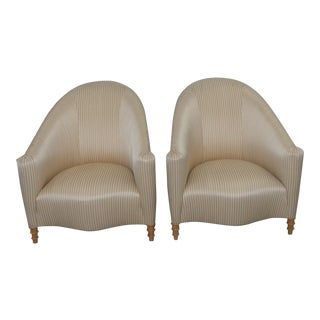 John Hutton for Donghia Silk Upholstered Club Chairs a Pair 20th C.