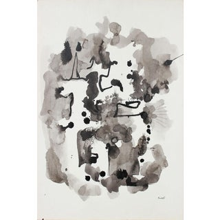Monochromatic Ink Painting on Paper, Circa 1960s-1980s For Sale