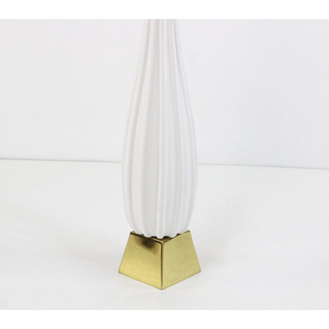 1980s Pair of Plaster Table Lamps on Brass Bases For Sale - Image 5 of 6