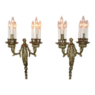 Pair of Circa 1900 French Empire Style Bronze Sconces Depicting Acantha For Sale