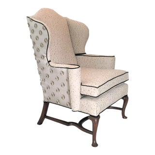 1940s Vintage Embroidered Linen Wingback Chair For Sale