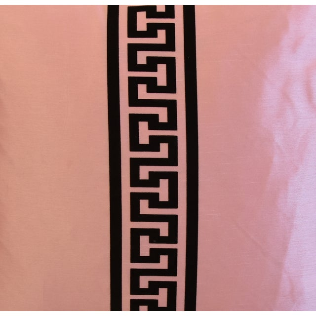 "Pink Dupioni Satin Silk Greek Key Feather/Down Pillows 23"" Square - Pair For Sale - Image 4 of 13"