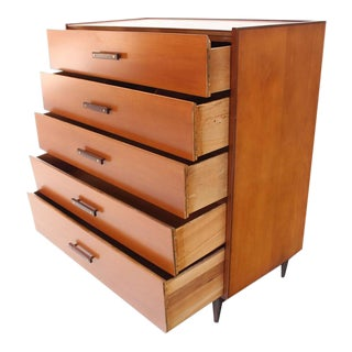 1950s Vintage Five Drawers Two Tone High Chest For Sale