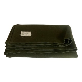 Vintage Us Military Army Green Wool Blanket For Sale