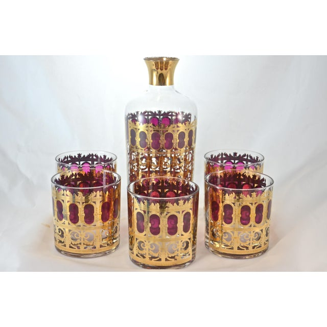 Culver 22k Gold & Violet Decanter & Glasses - Set of 6 - Image 7 of 7