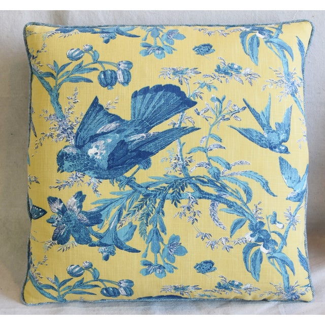 """Chinoiserie Designer Blue & Yellow Bird and Butterflies Feather/Down Pillows 21"""" Square - Pair For Sale - Image 3 of 13"""