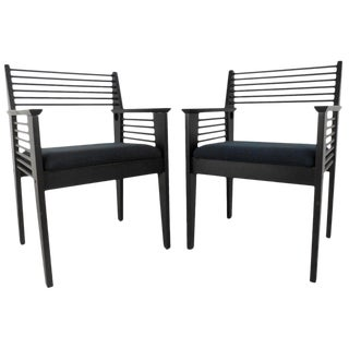 Pair of Unique Spoke Back Mid-Century Modern Style Side Chairs For Sale