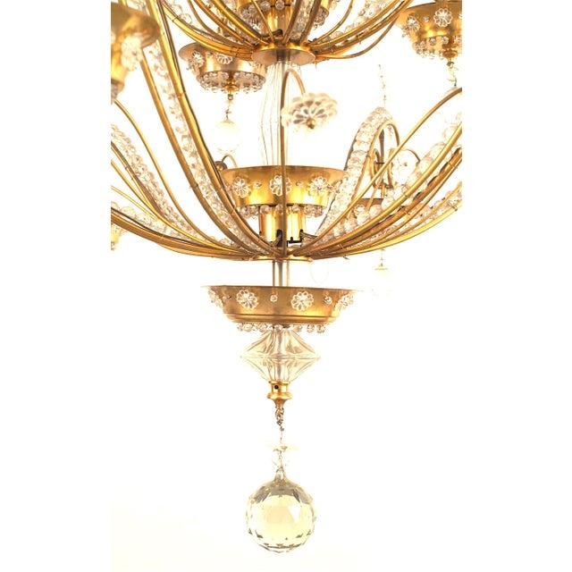 Jansen Furniture French 1940s Brass Frame Crystal Chandelier by Baguès for Jansen For Sale - Image 4 of 5