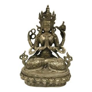 White Bronze Metal Tibetan Sitting Buddha Statue
