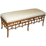 Image of Faux Bamboo Faux Bois Bench For Sale