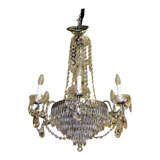 Vintage Schonbek Crystal 6 Arm Chandelier For Sale