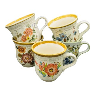 Vintage Mismatched Mikasa Floral Coffee Cups- Set of 5 For Sale