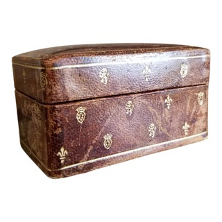 Vintage Mid-Century Italian Leather Box For Sale