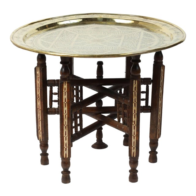 Middle Eastern Syrian Antique Brass Tray Table With Wooden Folding Stand For Sale