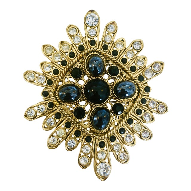 Large Filigree Crystallized Pin For Sale