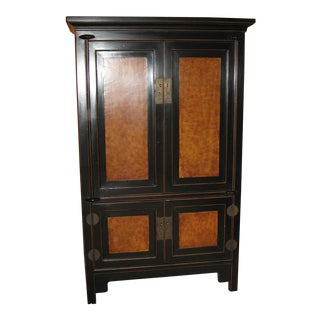 Black and Gold (Two Toned) Asian Armoire
