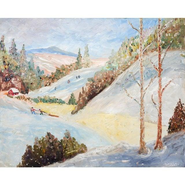 1950s Vintage Folk Art Winter Scene Painting For Sale - Image 5 of 5