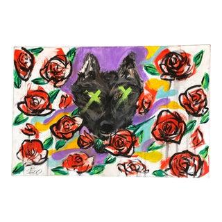"""Original Contemporary Pop Art Dog Painting """"Car Pet"""" For Sale"""