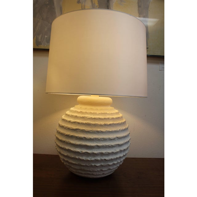Mid-Century Modern Bulbous Plaster Lamps - a Pair For Sale - Image 3 of 6