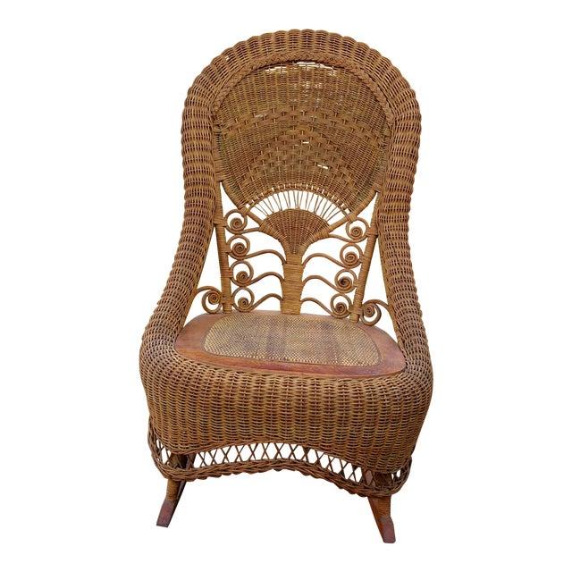 Victorian Wicker Rocking Chair Nursing Rocker in Original Condition Excellent Light Color 1800s Japanese Fanback For Sale