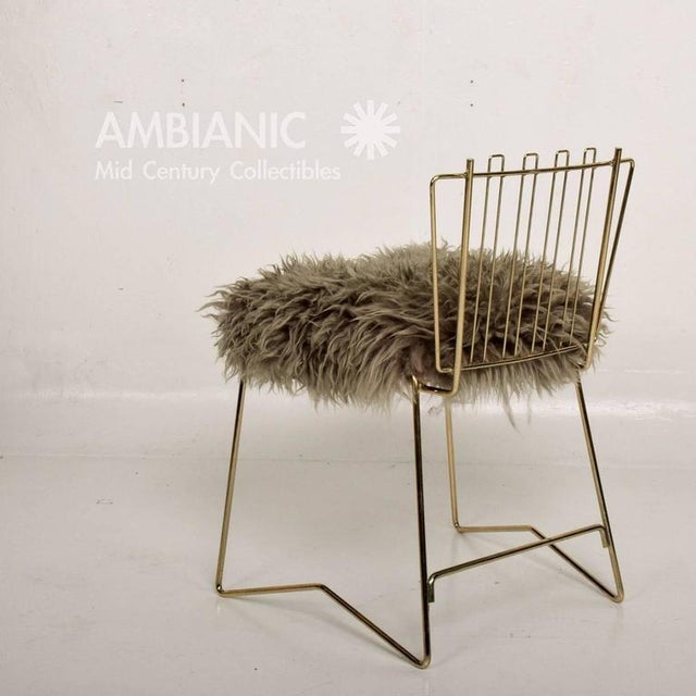 Gold Pr03 Folding Brass & Lambskin Chair For Sale - Image 8 of 9
