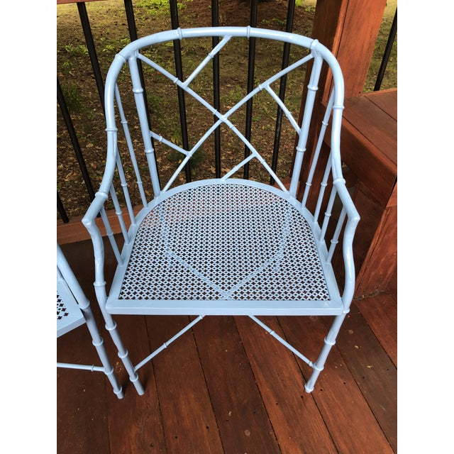 1970s Vintage Cast Aluminum Chinese Chippendale Faux Bamboo Barrel Chairs- A Pair For Sale - Image 9 of 13