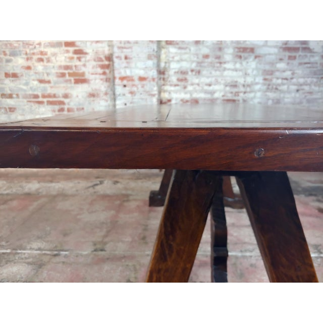 1960s Spanish Colonial Gorgeous Walnut Dining Table For Sale In Los Angeles - Image 6 of 10