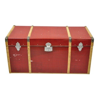 Vintage Wood Tin Metal Wrapped Red Faux Trunk For Sale