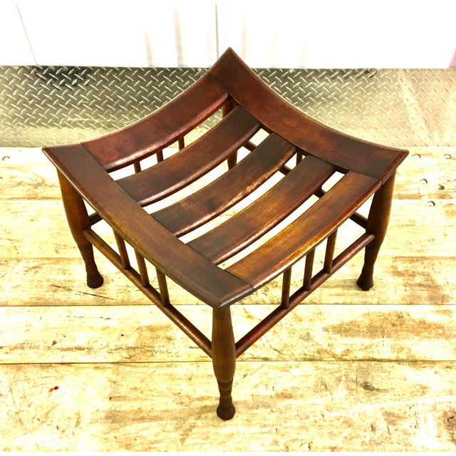 Vintage Liberty & Co (unmarked) Thebes stool in the original finish. This version has the slatted top. Very sturdy and...