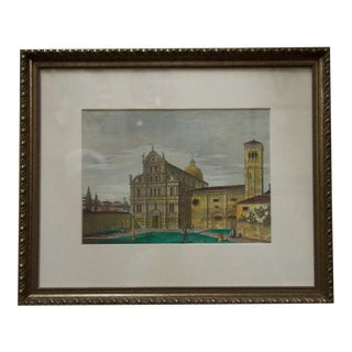 Vintage Italian Watercolor Print of Venice Custom Framed For Sale
