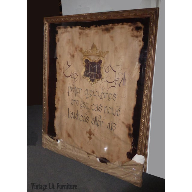 "Large 60""x47"" Shadow Box Wall Mantle Picture Framed on Canvas Pirate Latin Saying - Image 2 of 10"