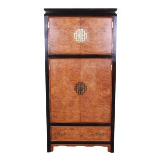 Century Furniture Black Lacquer and Burl Wood Chinoiserie Armoire Dresser For Sale