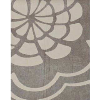 Neutral Coffee & Beige Floral Wallpaper For Sale