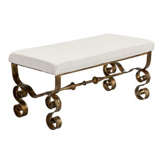 Spanish Mid-Century Upholstered Bench with Scrolled Gilt Metal Legs