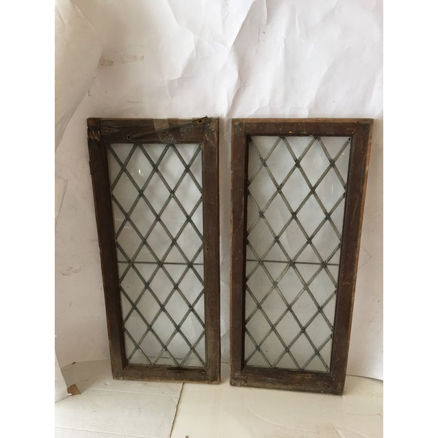Boho Chic 1920s Antique Upstate New York Leaded Glass Window Panels- a Pair For Sale - Image 3 of 7