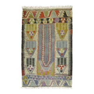 Vintage Turkish Kilim, 3'4'' X 4'7'' For Sale