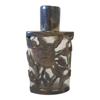 Vintage Silver Overlay Perfume Bottle For Sale